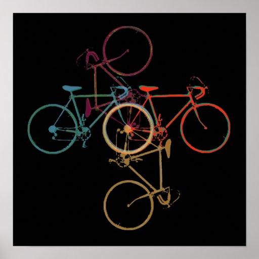 Bike-art / colorful_bikes on black poster
