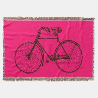 bike bicycle bike throw blanket bright pink brown