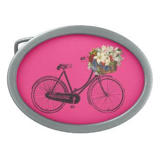 Bike bicycle flower belt buckle pink