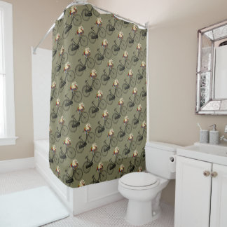 Bike bicycle flower pretty shower curtain taupe