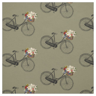 Bike bicycle flower pretty spring fabric taupe