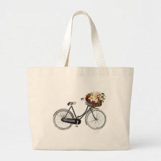 Bike bicycle flower pretty tote bag