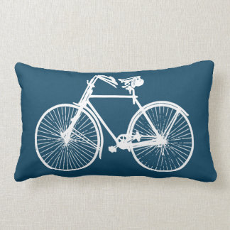 bike bicycle Throw pillow bright blue white