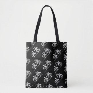 Bike Black and White Vintage Bicycles Pattern Tote Bag