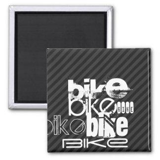 Bike; Black & Dark Gray Stripes Square Magnet