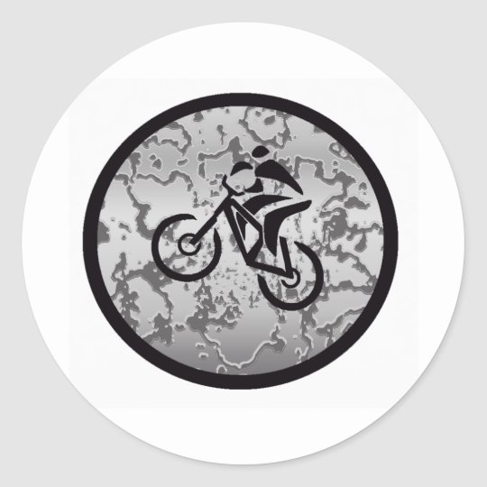 Bike Black Greyed Classic Round Sticker Zazzle Co Uk