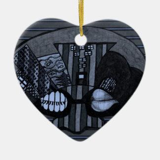 Bike & Bruise by Kaye Talvilahti Ceramic Heart Decoration
