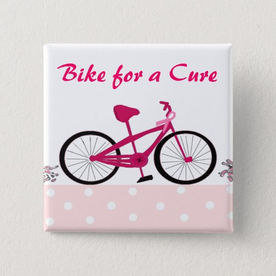 Bike for a Cure - Pink Bicycle 15 Cm Square Badge
