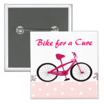 Bike for a Cure - Pink Bicycle Pinback Buttons