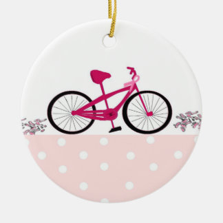 Bike for a Cure - Pink Bicycle Round Ceramic Decoration