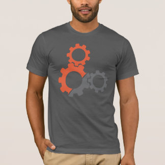 Bike Gears, Orange & Gray Design. T-Shirt