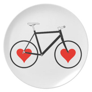 Bike heart Wheels Party Plates