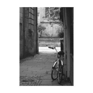 Bike in mews canvas print
