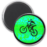 Bike Lime Funky 6 Cm Round Magnet