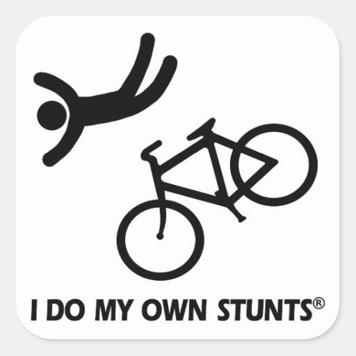 Bike My Own Stunts Square Stickers
