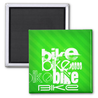 Bike; Neon Green Stripes Square Magnet