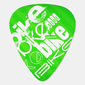 Bike; Neon Green Stripes Plectrum