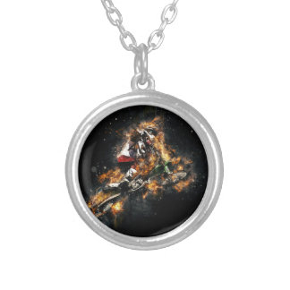 Bike on Fire Round Pendant Necklace
