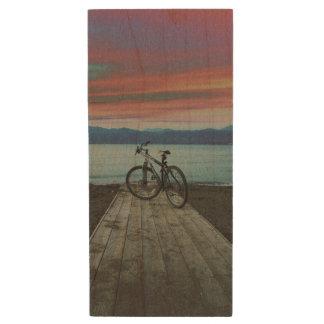 Bike On Pier | Greece Wood USB 2.0 Flash Drive