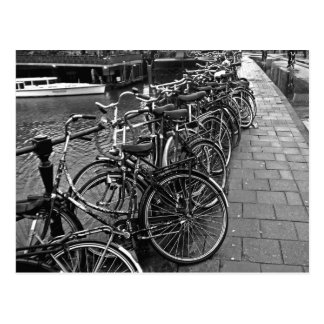 Bike Parking -- Amsterdam in November BW Postcard