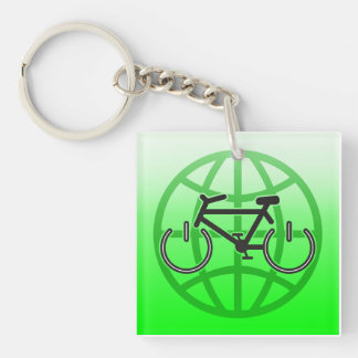 Bike Power for Earth Day Double-Sided Square Acrylic Key Ring