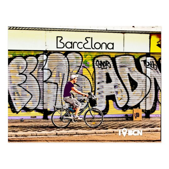 Bike riding on Barcelona, Spain Postcard