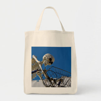 Bike Riding Skeleton Tote Bag