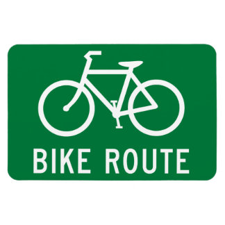 Bike Route Cycling Path Bicycle Lane Road Sign Rectangular Photo Magnet
