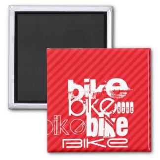 Bike; Scarlet Red Stripes. Square Magnet