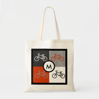 Bike Squares black, white, red and gray Monogram Budget Tote Bag