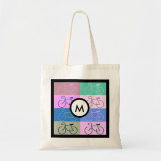 Bike Squares Pink, brown, mint and blue Monogram Budget Tote Bag