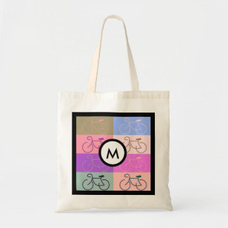 Bike Squares Pink, peach, green and blue Monogram Budget Tote Bag