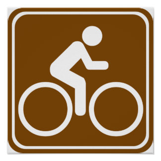 Bike Trail Highway Sign Poster