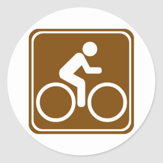 Bike Trail Highway Sign Round Sticker