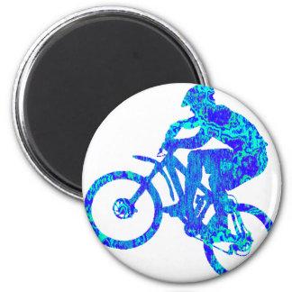 Bike Turquoise Flasher 6 Cm Round Magnet