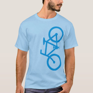 Bike, Vertical Silhouette, Blue Design T-Shirt
