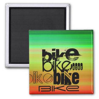 Bike; Vibrant Green, Orange, & Yellow Square Magnet