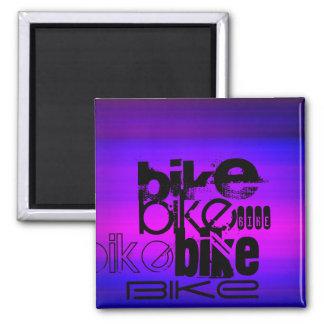 Bike; Vibrant Violet Blue and Magenta Square Magnet
