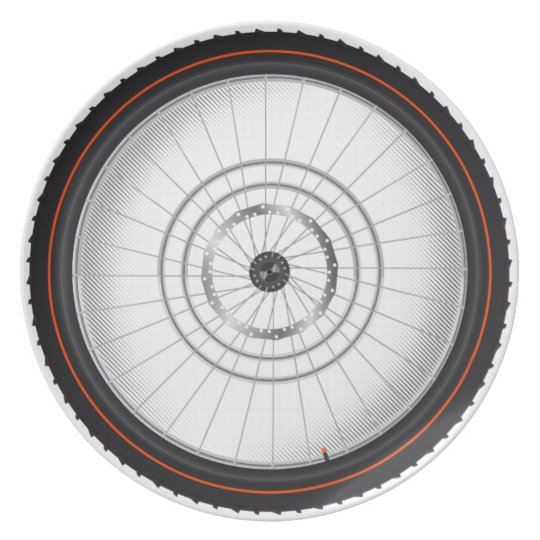 Bike Wheel And Tire Party Kitchen Plate