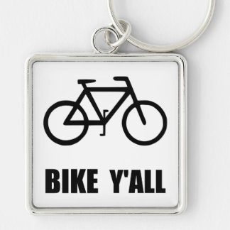Bike Yall Silver-Colored Square Key Ring