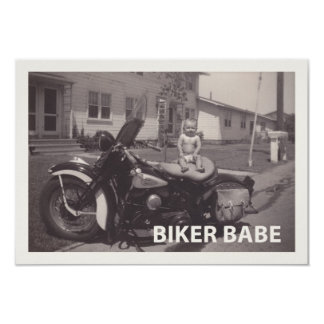 biker babe 3.5x5 paper invitation card