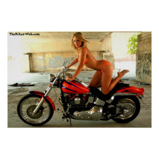 Biker Babe on a Hawg - Poster