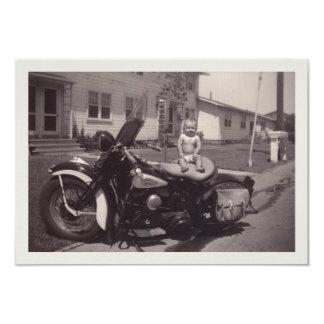 biker baby 9 cm x 13 cm invitation card