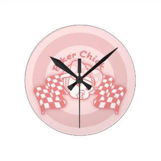 Biker Chick 914 Round Clock