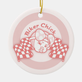 Biker Chick 914 Round Ceramic Decoration
