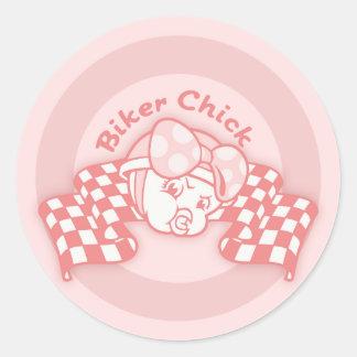 Biker Chick 914 Round Sticker