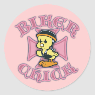 Biker Chicklette Classic Round Sticker