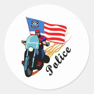Biker Cops Round Stickers