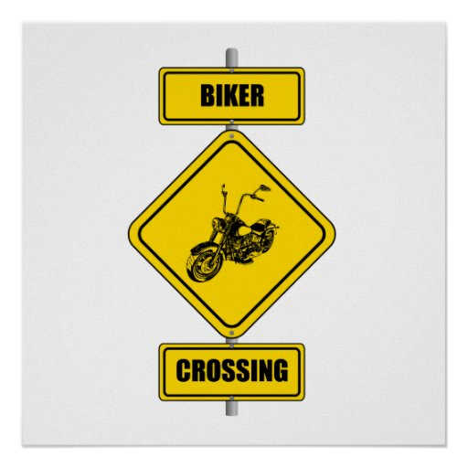 Biker Crossing Posters
