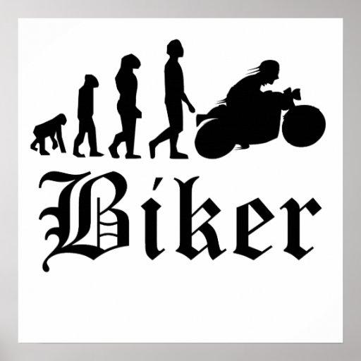 Biker Evolution Motorcycle Poster
